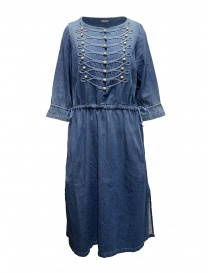 Kapital indigo long dress with golden buttons online