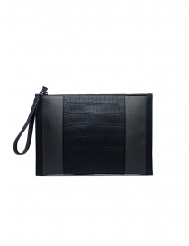 Tardini alligator leather and carbon fiber envelope bag A6T334/37 BUSTA GRANDE