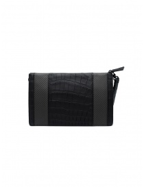 Tardini alligator leather and carbon fiber small bag