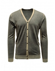 Mens cardigans online: Adriano Ragni grey and baige striped cardigan
