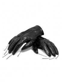 Gloves online: Carol Christian Poell black kangaroo leather gloves with tassels