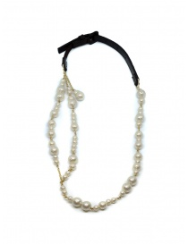 As Know As necklace with white pearls black buckle online