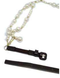 As Know As necklace with white pearls black buckle
