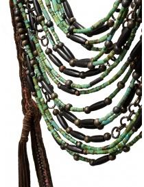 Collana Share-Spirit in pelle scamosciata e perle verdi