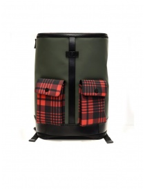 Travel bags online: Frequent Flyer Captain green backpack red tartan pockets