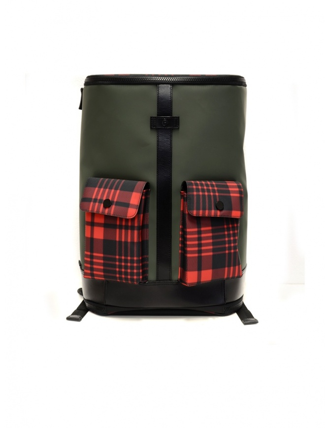 Frequent Flyer Captain green backpack red tartan pockets CAPTAIN M GREEN/TARTAN RED travel bags online shopping