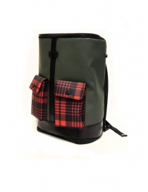 Frequent Flyer Captain green backpack red tartan pockets