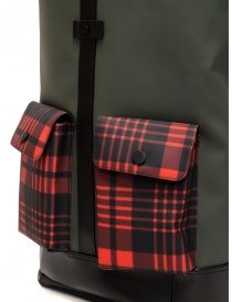 Frequent Flyer Captain green backpack red tartan pockets travel bags buy online