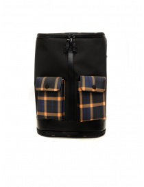 Travel bags online: Frequent Flyer Captain black backpack yellow-blue tartan pockets