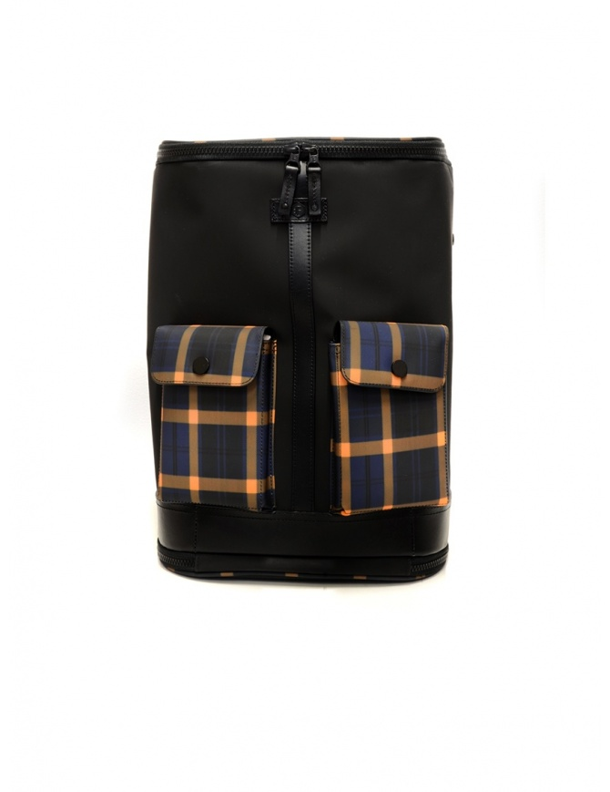 Frequent Flyer Captain black backpack yellow-blue tartan pockets CAPTAIN M BLACK/TARTAN YELLOW travel bags online shopping