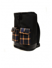 Frequent Flyer Captain black backpack yellow-blue tartan pockets