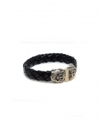ElfCraft bracelet black leather facetted shield
