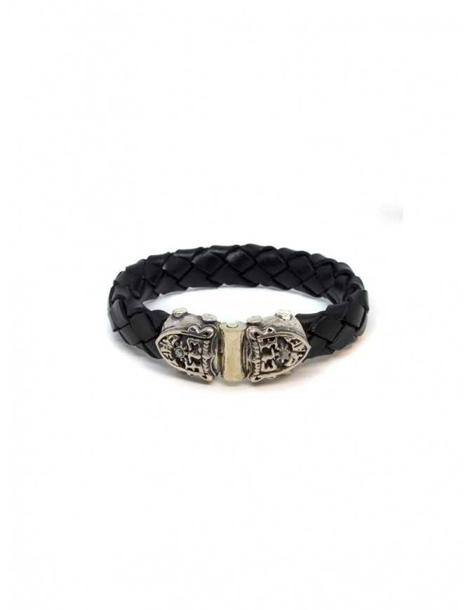 ElfCraft bracelet black leather facetted shield 219.04.52.13FAC+MET jewels online shopping