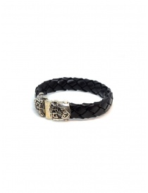 ElfCraft bracelet black leather facetted shield price