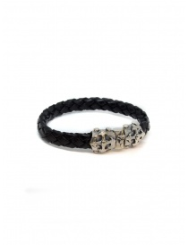 ElfCraft bracelet black leather blades cross 219.04.63.10