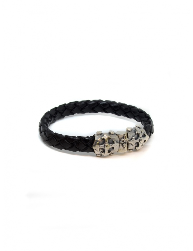 ElfCraft bracelet black leather blades cross 219.04.63.10 jewels online shopping
