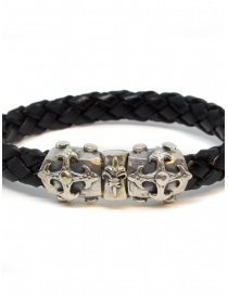 ElfCraft bracelet black leather blades cross