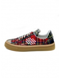 BePositive Roxy red tartan sneaker for men