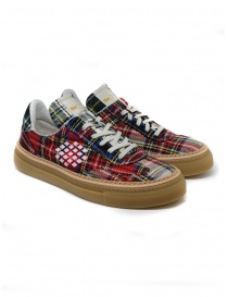 BePositive Roxy red tartan sneaker for men online