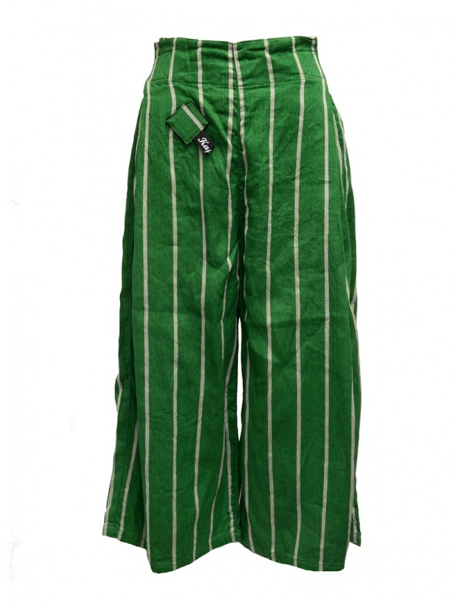 Kapital green striped cropped trousers K1905LP189 GREEN womens trousers online shopping
