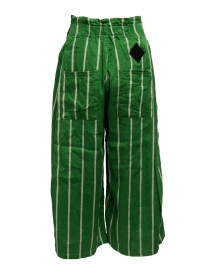 Kapital green striped cropped trousers price