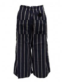 Pantaloni Kapital cropped blu navy a strisce prezzo