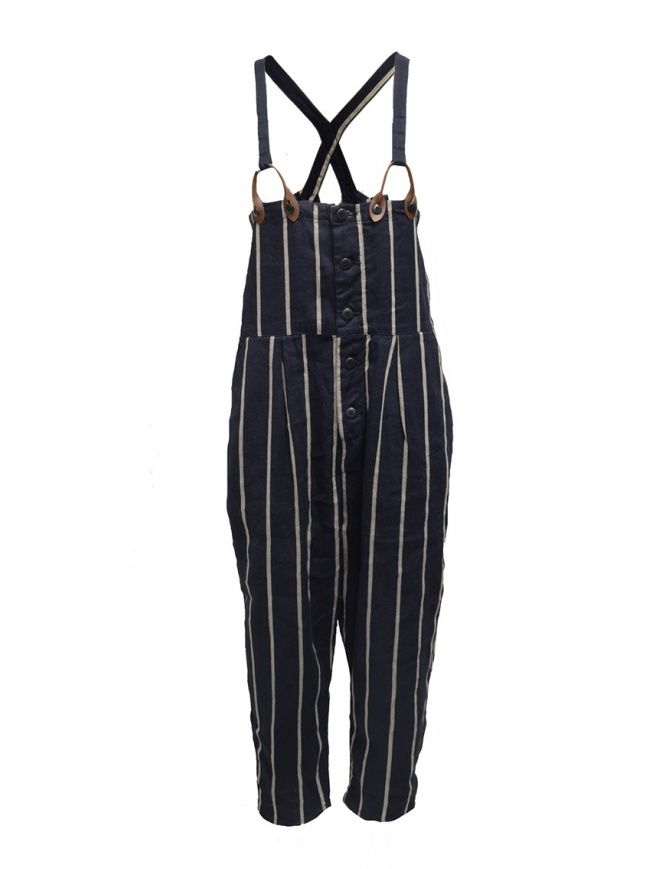 Kapital navy blue striped dungarees K1905OP191 NAVY womens trousers online shopping