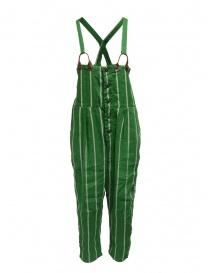 Pantaloni donna online: Salopette Kapital verde a righe