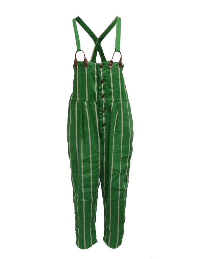 Kapital green striped dungarees K1905OP191 GREEN womens trousers online shopping