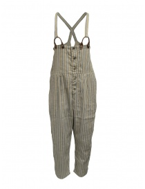 Kapital beige and light blue striped salopette online