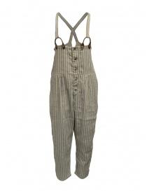 Pantaloni donna online: Salopette Kapital beige a righe azzurre