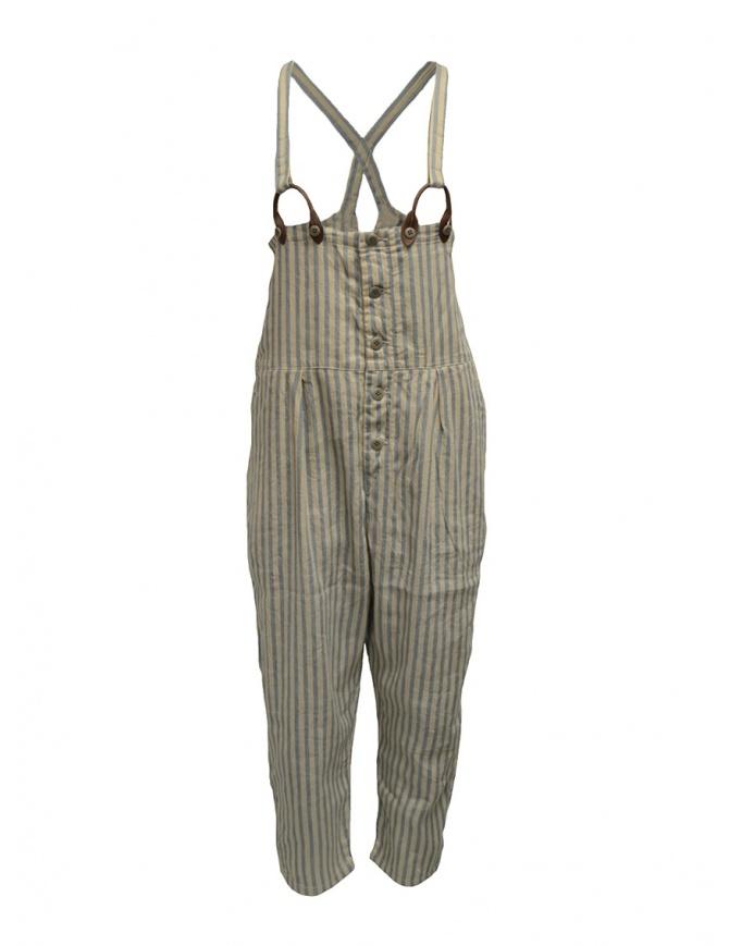 Salopette Kapital beige a righe azzurre K1904OP101 BEIGE pantaloni donna online shopping