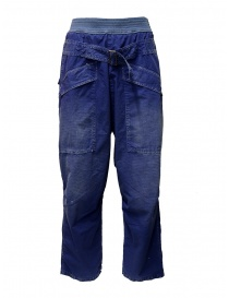 Mens trousers online: Kapital blue trousers with buckle