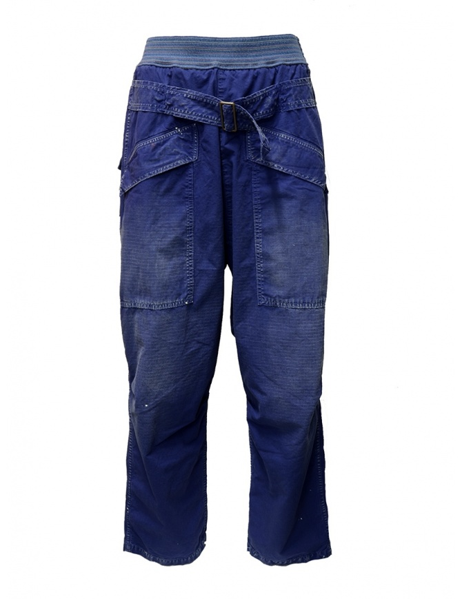 Kapital blue trousers with buckle K1904LP130 BLUE mens trousers online shopping