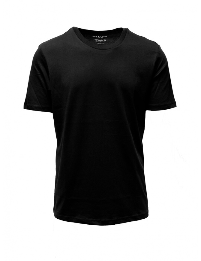 T-shirt Selected Homme nera liscia 16057141 BLK SHDTREPERFECT t shirt uomo online shopping