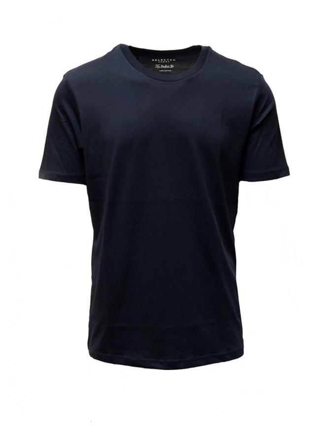 T-shirt Selected Homme blu scuro zaffiro liscia 16057141 DARK SAPPHIRE t shirt uomo online shopping