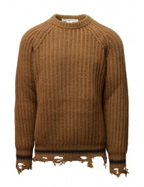 Golden Goose brown ocher sweater with torn edges G35MP582.A2 BROWN/NAVY STRIPES