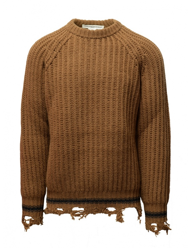 Maglione Golden Goose marrone ocra bordi strappati G35MP582.A2 BROWN/NAVY STRIPES maglieria uomo online shopping