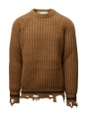 Maglione Golden Goose marrone ocra bordi strappati acquista online G35MP582.A2 BROWN/NAVY STRIPES