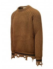Maglione Golden Goose marrone ocra bordi strappati acquista online