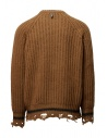 Maglione Golden Goose marrone ocra bordi strappati G35MP582.A2 BROWN/NAVY STRIPES prezzo