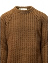 Maglione Golden Goose marrone ocra bordi strappati G35MP582.A2 BROWN/NAVY STRIPES acquista online