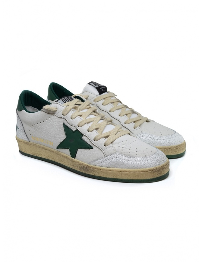 Golden Goose Ballstar white sneakers with green star G35MS592.A4 WHT-GREEN mens shoes online shopping