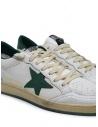 Sneakers Golden Goose BallStar bianche con stella verde G35MS592.A4 WHT-GREEN acquista online
