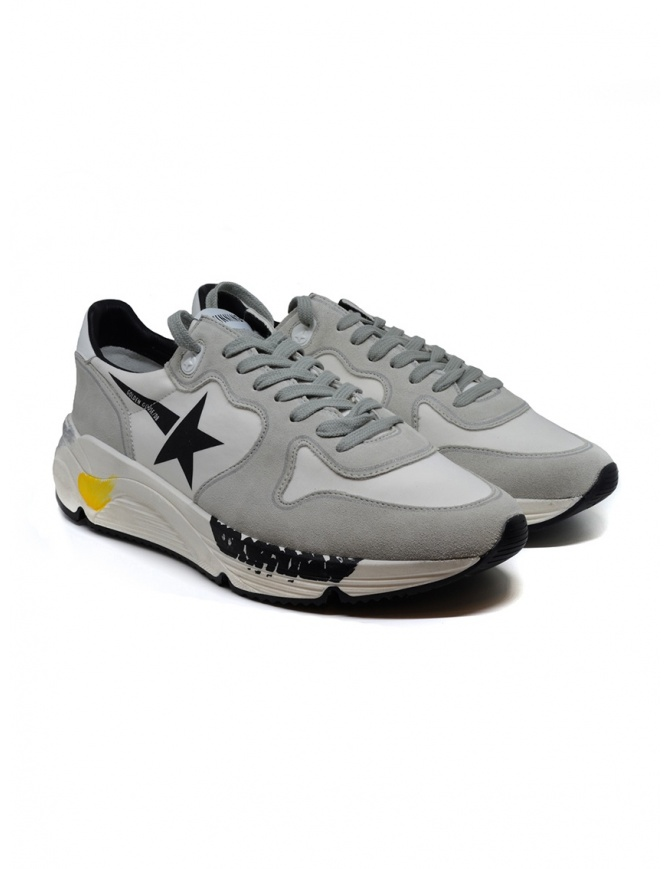 Golden Goose Running white and grey sneakers with black star G35MS963.A1 WHT LYCRA-BLK STAR mens shoes online shopping