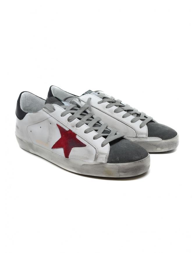 Golden Goose Superstar bianche grigie con stella rossa G35MS590.Q74 WHT LEA-RED SUEDE calzature uomo online shopping