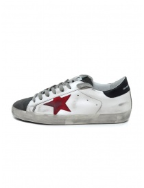 Golden Goose Superstar in white grey with red star