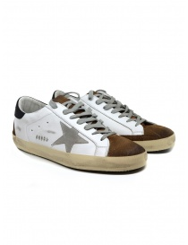 Golden Goose Superstar bianche marroni con stella grigia G35MS590.Q18 WHT MUD-ICE STAR