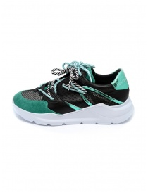 Leather Crown Border Line Sneakers Black Emerald Green