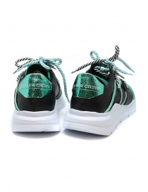 Leather Crown Border Line Sneakers Black Emerald Green price